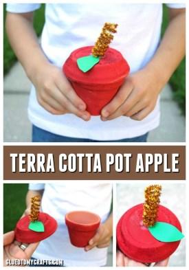 Terra Cotta Pot Apple Container - Fall Craft Idea