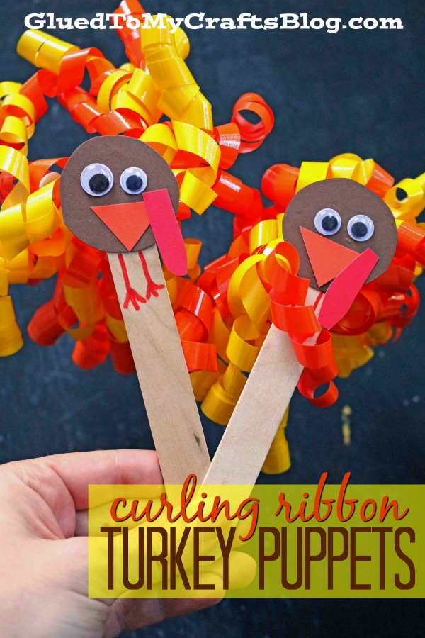Curling Ribbon Turkey Puppets - Kid Craft