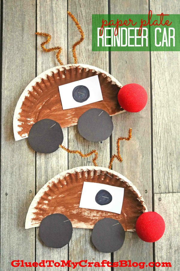 Paper Plate Rudolph The Red Nose Reindeer Car