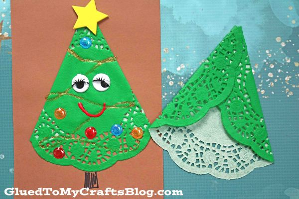 Paper Doily Christmas Tree Friends - Paper Art Craft