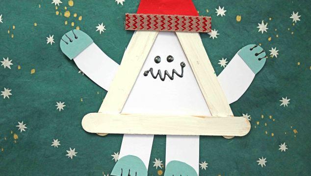 Popsicle Stick Christmas Yeti Friend - Kid Craft