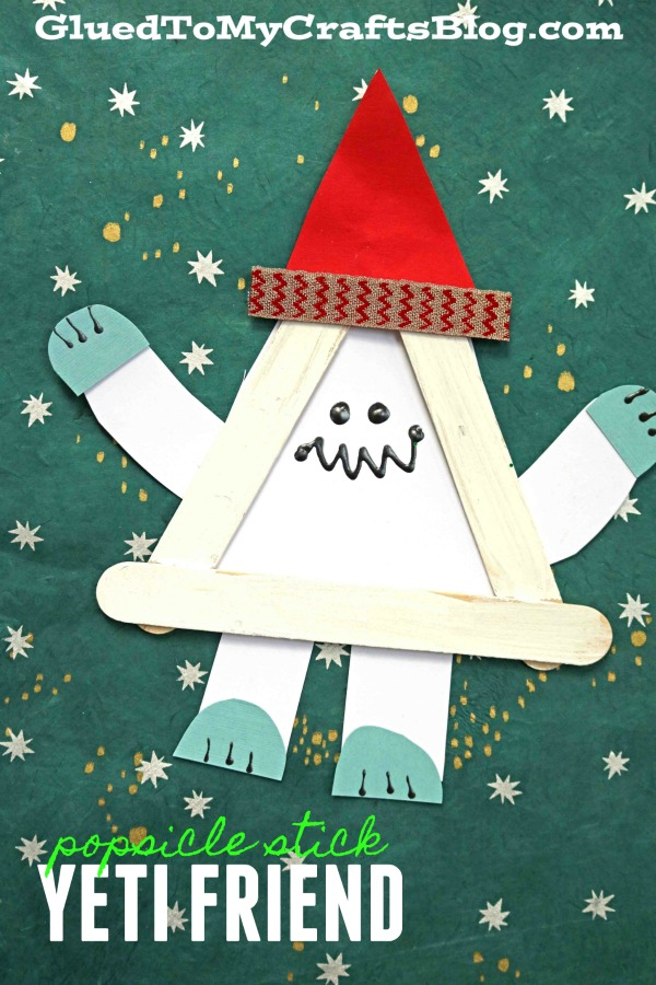 Popsicle Stick Christmas Yeti Friend - Kid Craft