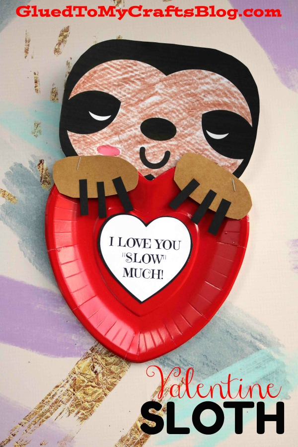 Love You SLOW Much! Valentine Holding Sloth Craft