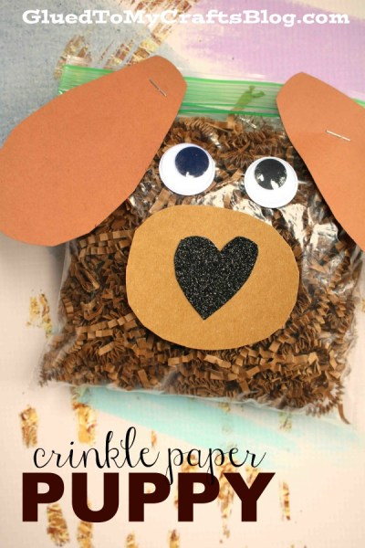 Crinkle Paper Puppy Dog - Kid Craft Idea