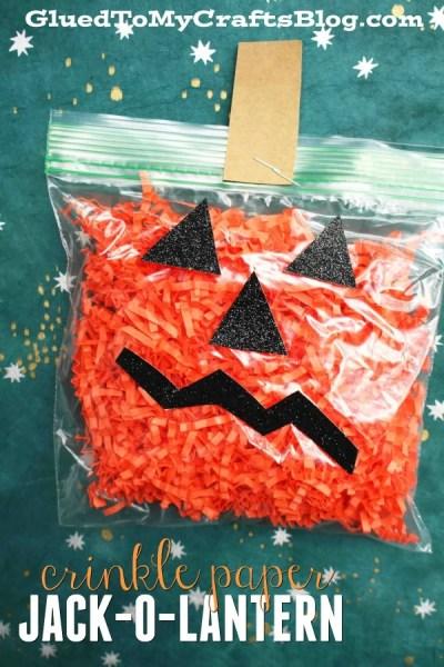 Crinkle Paper Jack-O-Lantern - Kid Craft Idea