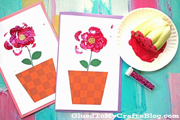 Celery Printed Mother S Day Flower Card Kid Craft Glued To My Crafts