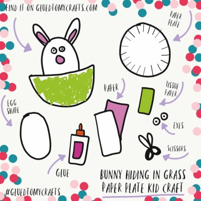 Easter Bunny Hiding In Grass - Paper Plate Kid Craft