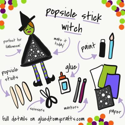 Popsicle Stick Halloween Witch - Kid Craft