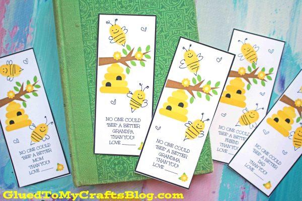 Thumbprint BEE Bookmark - Kid Made Gift