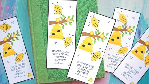 Thumbprint BEE Bookmark - Kid Made Gift