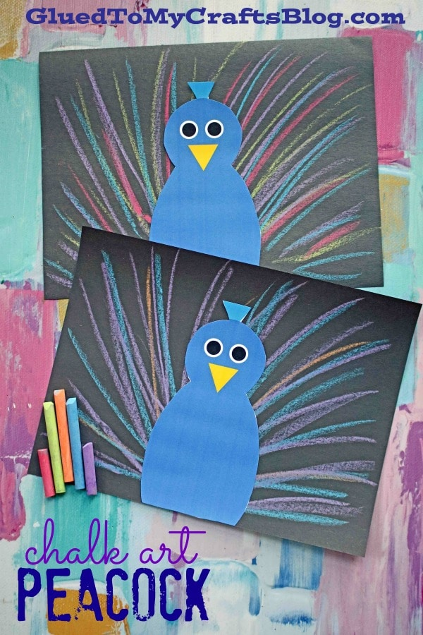 Paper Chalk Art Peacock - Kid Craft