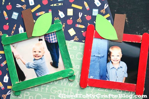 Craft Stick Apple Picture Frame - Kid Craft