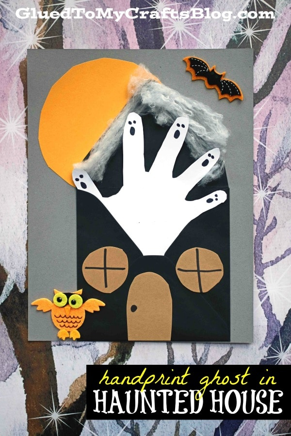 Handprint Ghost In Haunted House - Kid Craft