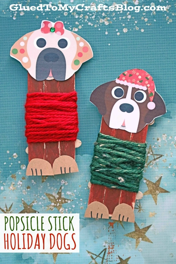 Popsicle Stick Holiday Dogs In Sweaters - Kid Craft