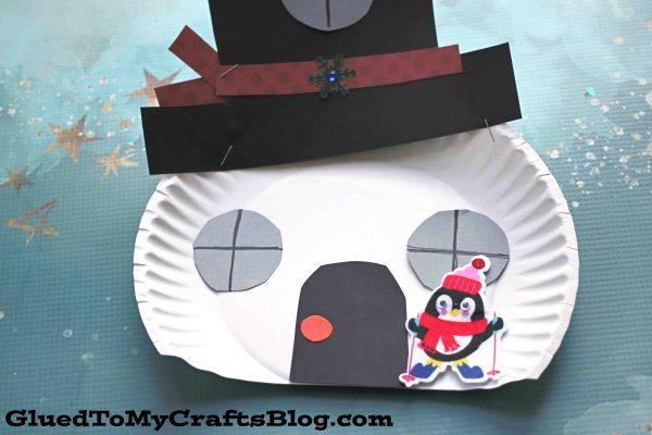 Paper Plate Snowman House - Kid Craft