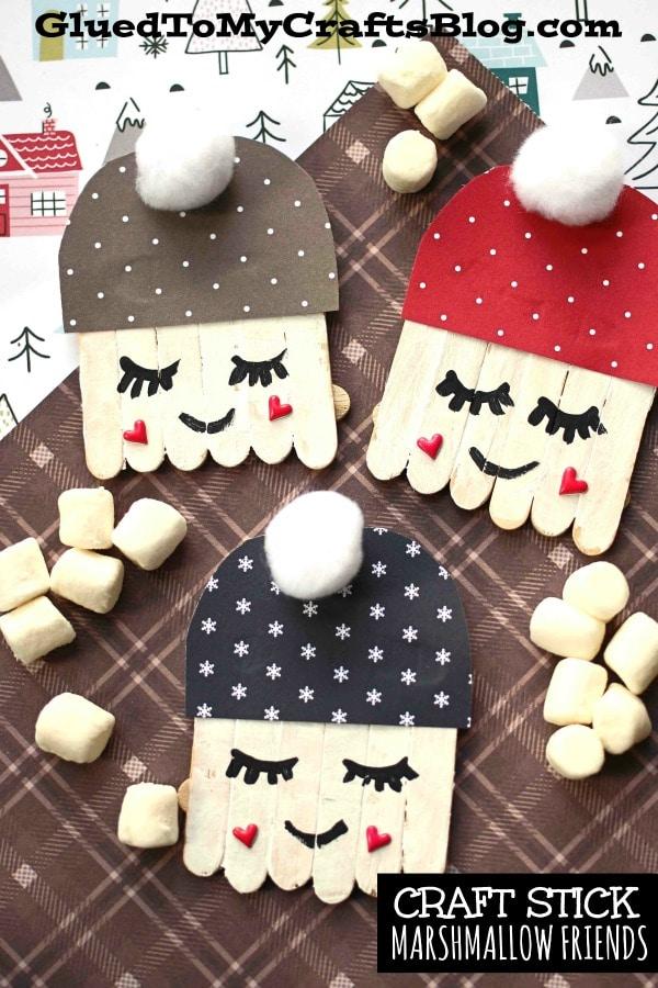 Mini Craft Stick Marshmallow Friends - Kid Craft