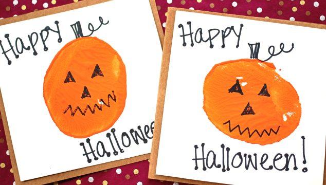 Potato Stamped Pumpkin Cards