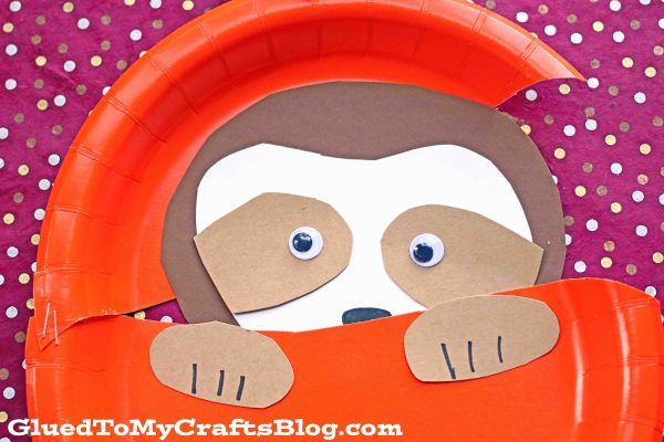 Paper Plate Sloth In Pumpkin - Kid Craft