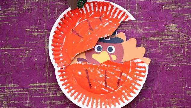 Paper Plate Turkey Hiding In Pumpkin - Kid Craft
