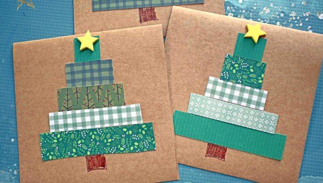 Handmade Paper Scrap Christmas Tree Cards