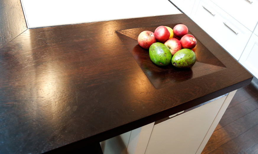kitchen island with butcher block hutch for wood countertops integrated bowls by grothouse