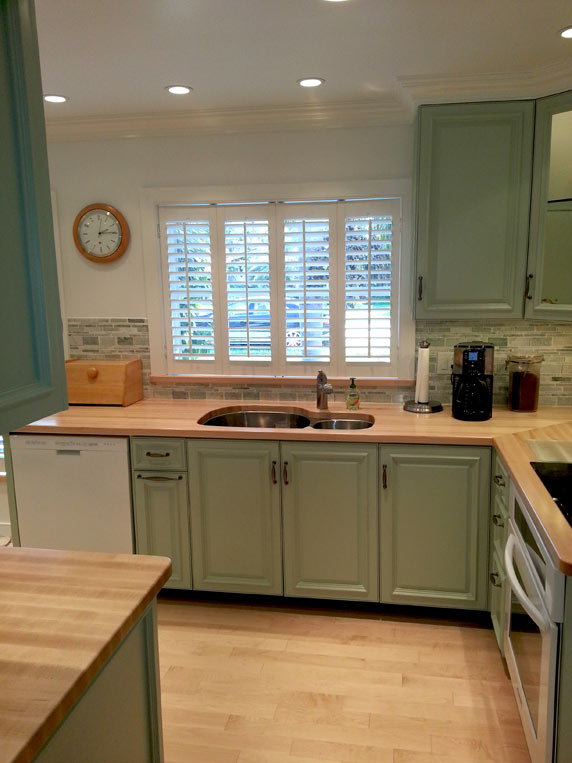 distressed kitchen island butcher block bar lights custom maple wood countertops in boca raton, florida