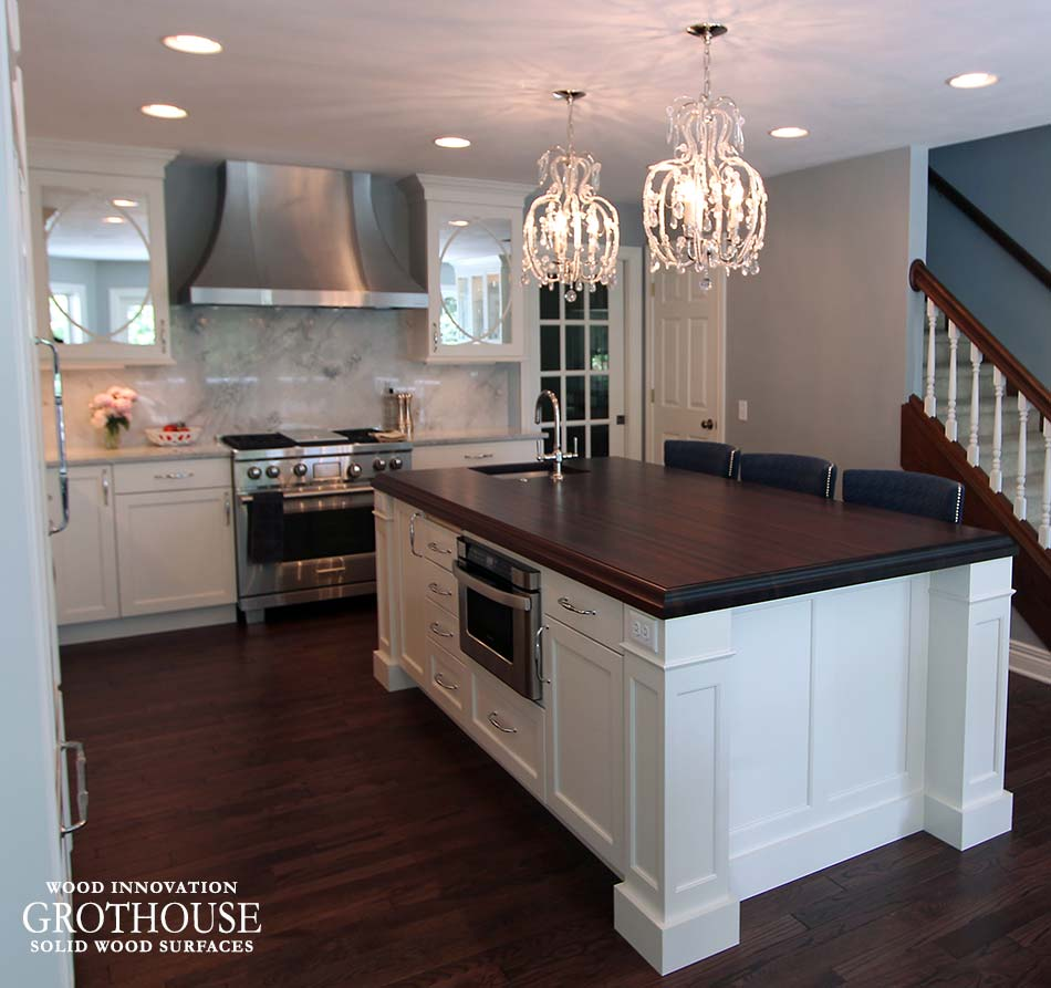 distressed kitchen island butcher block designers miami peruvian walnut countertop in madison, wi