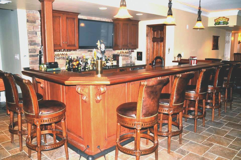 Custom Sapele Mahogany Wood Bar Top in Pasadena Maryland