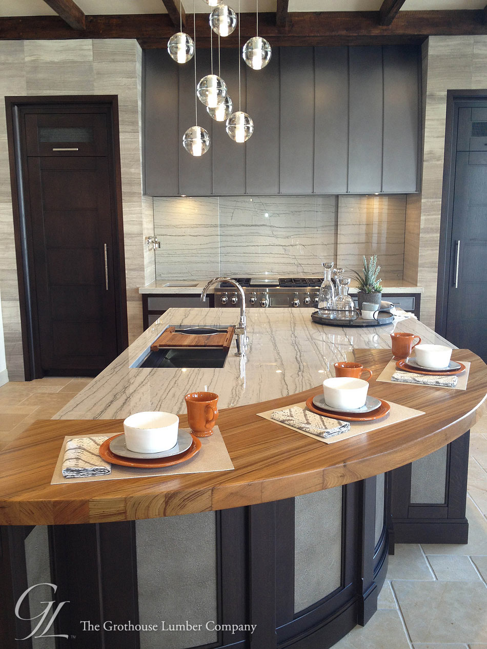distressed kitchen island butcher block cheap utensils custom teak wood countertop in denver, colorado by grothouse