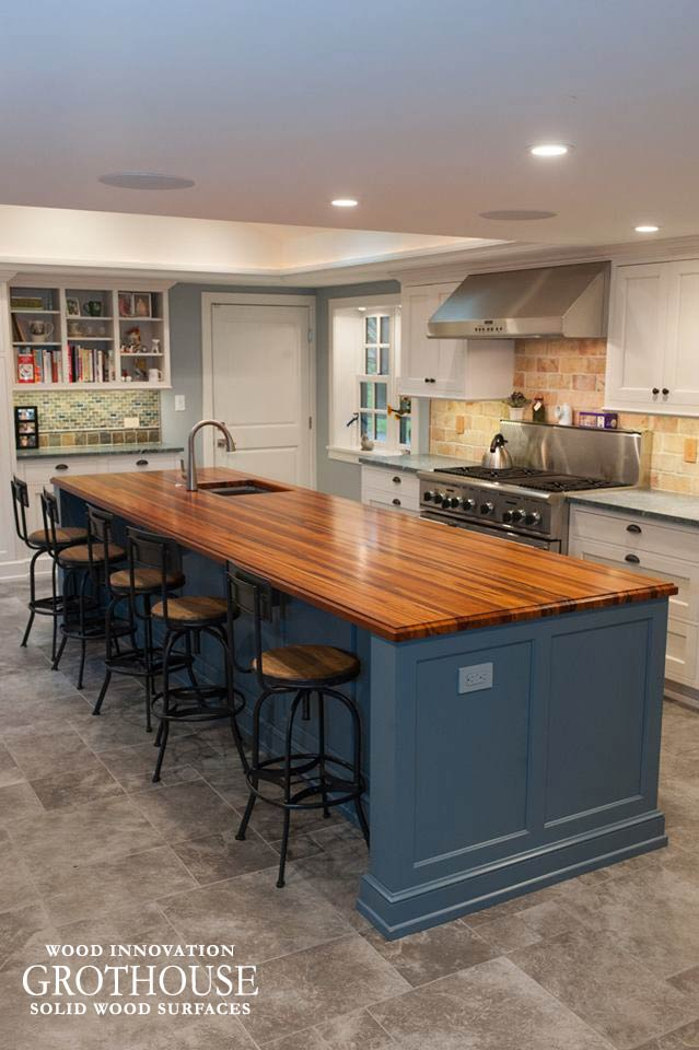 kitchen island top cost to refinish cabinets custom tigerwood in west chester pa countertop