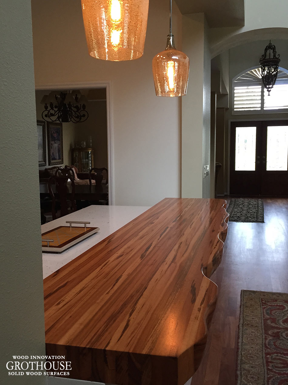 wood kitchen counters brown jordan outdoor kitchens tigerwood countertop with faux live edge in florida