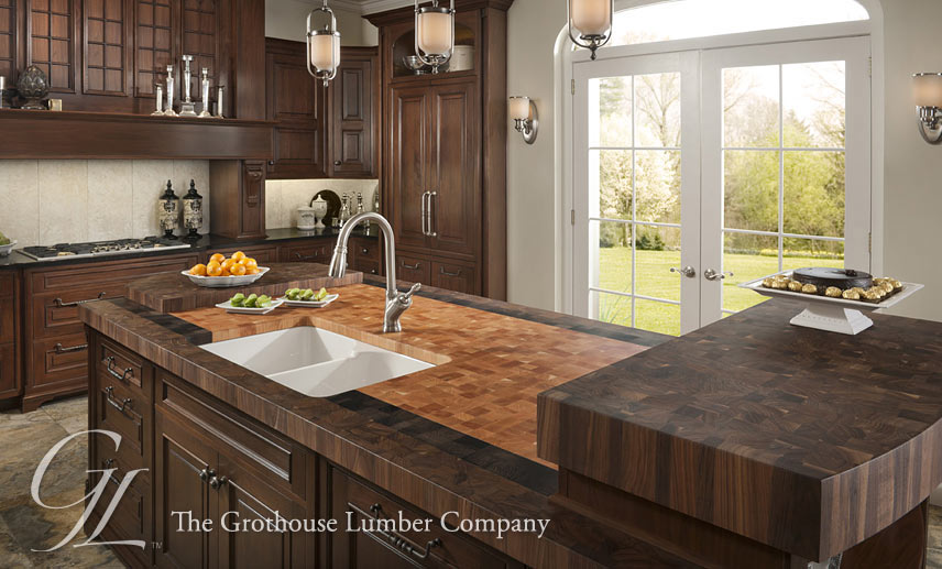kitchen wood countertops blue island custom butcher block with undermount sinks overmount or
