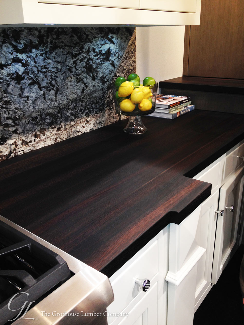 custom kitchen booth rectangle table with bench wenge dark wood countertop displayed at kbis 2014