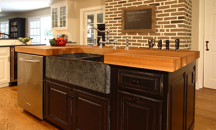 Oak Wood Kitchen Island Counter in Bryn Mawr Pennsylvania