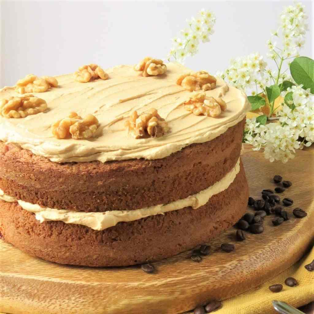 Gluten Free Coffee & Walnut Cake