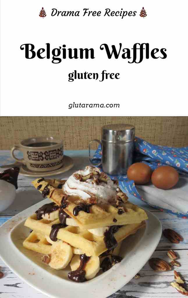 Gluten Free Belgium Waffles made with either a waffle iron or electronic waffle maker. These are simple to make and can easily be made dairy free too by swapping out the butter. The perfect gluten free breakfast option or to have for brunch, lunch or even dessert. #waffles #glutenfree #breakfast #dessert