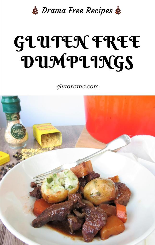 Dumplings made with gluten free flour and gluten free suet, a delicious addition to a healthy hearty family stew. #glutenfree #dairyfree #freefrom #dumplings #suet
