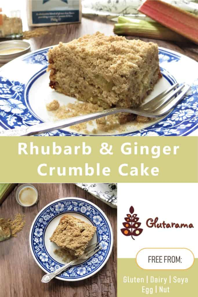 Seasonal Baking with my Rhubarb & Ginger Crumble Cake; #glutenfree, #vegan, #dairyfree, #eggfree