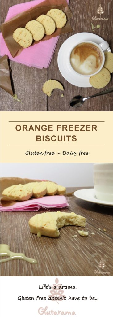 Orange Freezer Biscuits; Simple to make, easy to store and so versatile you can alter the flavours easily. Gluten Free and Dairy Free too.