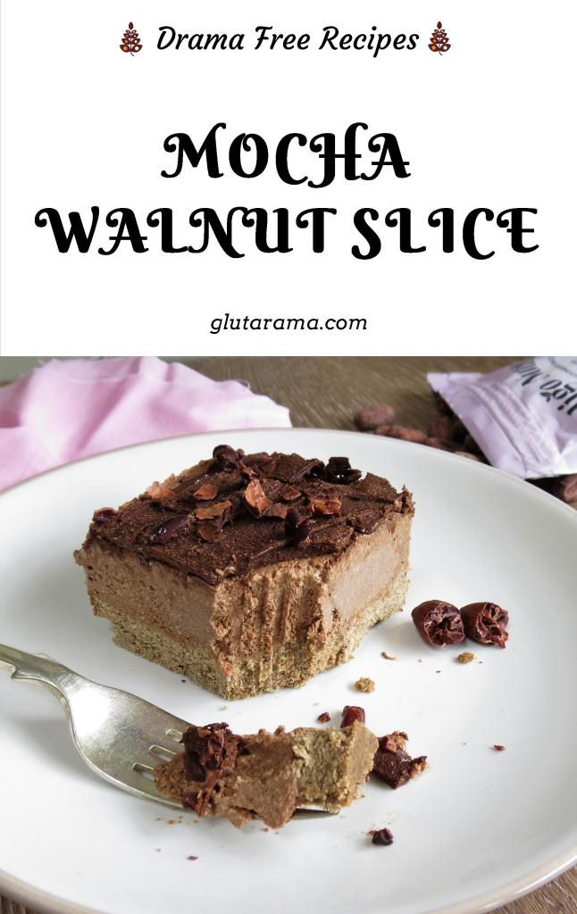 Mocha Walnut Slice; made with delicious ingredients and not just gluten free but dairy free too. #mocha #coffee #walnut #teatimetreat #freefromgang #glutenfree #dairyfree