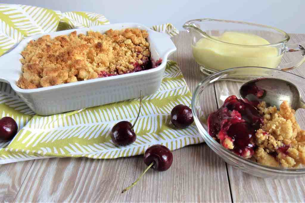 three ingredient Cherry Shortbread Crumble