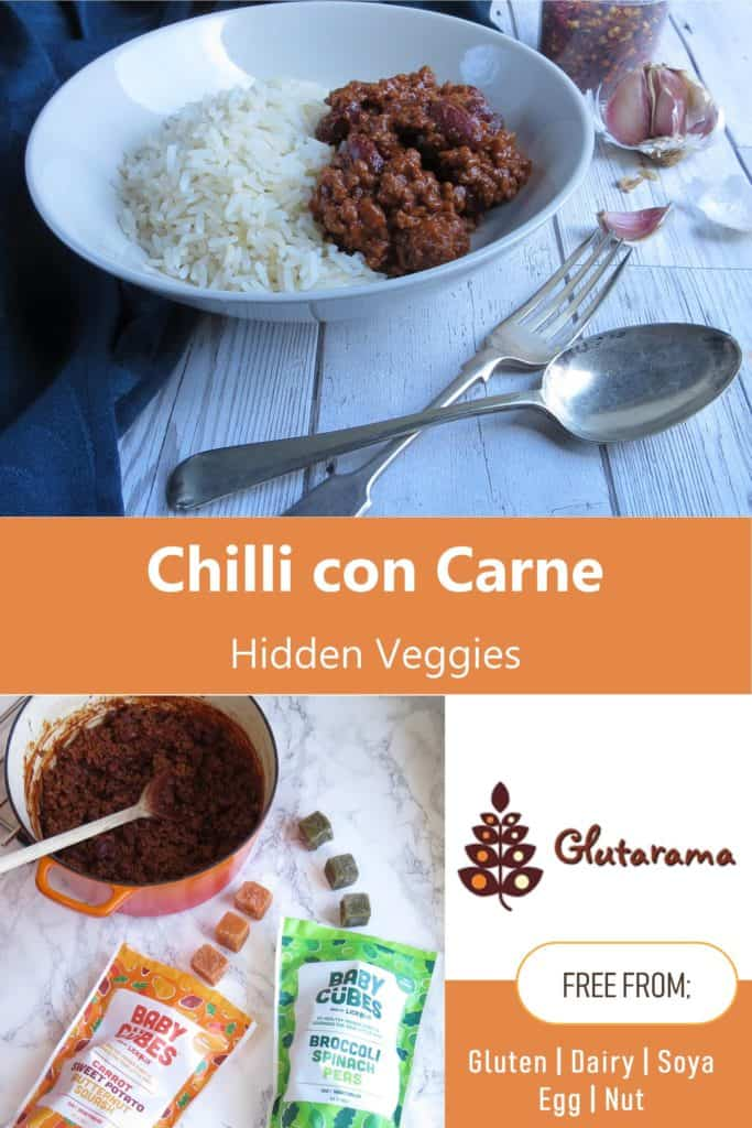 Chilli con Carne with hidden veggies for your fussy eaters, perfect for children who don't like their vegetables this recipe is #glutenfree #dairyfree #nutfree #soyafree #eggfree PLUS there is a limited time only #giveaway for Lickalix BABY CUBES and other delicious goodies (UK ONLY)