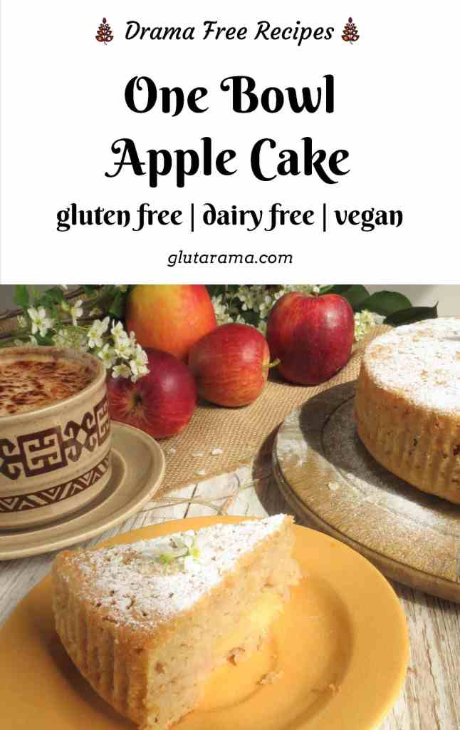 One Bowl Apple Cake that's not just gluten free but also dairy free, egg free and vegan. No extra washing up, simple recipe to follow and a winning cake to share with friends and family for teatime. #applecake #frenchcake #vegan #glutenfree #dairyfree #eggfree