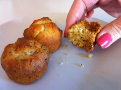 Blueberry mini muffins and lemon and poppy seed mini muffins
