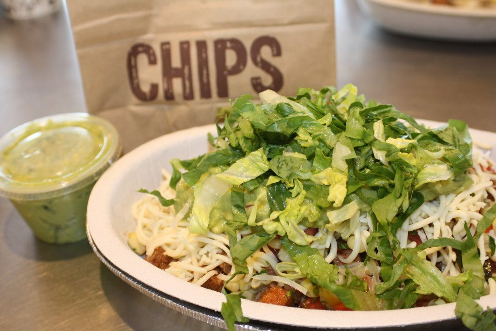 Chipotle Bowl with Guacamole and Chips