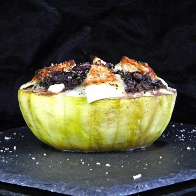 Giant Round Courgette (or Marrow) with a Rich Dark Puy Lentil Stuffing