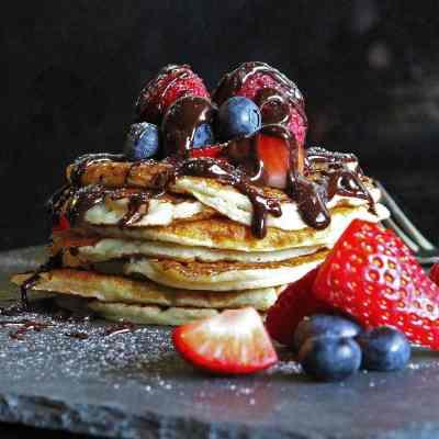 Vanilla Buttermilk Pancakes  + Gluten Free Too! With Chocolate Sauce