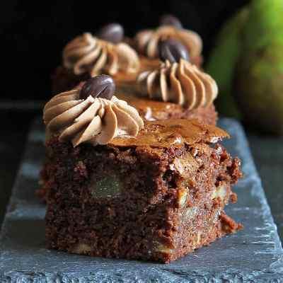 Autumn Pear and Walnut Brownies (gluten free)
