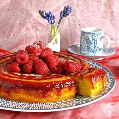 Flourless Orange Cake with Honeyed Raspberry Coulis