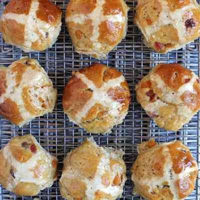Marzipan Hot Cross Buns with Cherry and Apricot – Gluten Free
